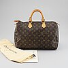"Louis vuitton, a ""speedy 35"" monogram canvas handbag."