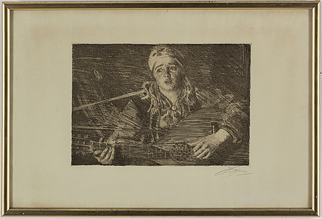 Anders zorn, etching, 1919, signed.