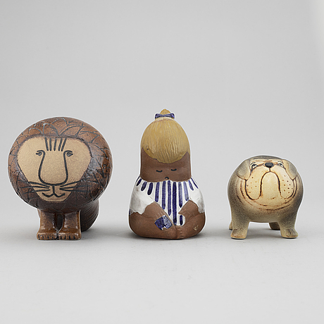 Lisa larson, three stoneware figurines, gustavsberg, sweden.