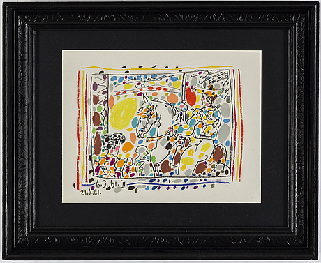 Pablo picasso, färglitografi, daterad 1961 i trycket, ur a los toros avec picasso.