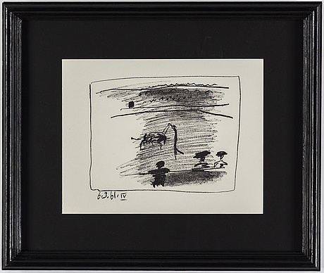 Pablo picasso, lithograph, dated 61 in the printe, from: a los toros avec picasso.