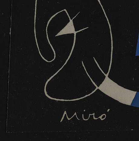 "Joan mirÓ, färglitografi, ur ""derrière le miroir"" nr 93, 1956, ""dix ans d'Édition"",  signerad i trycket."