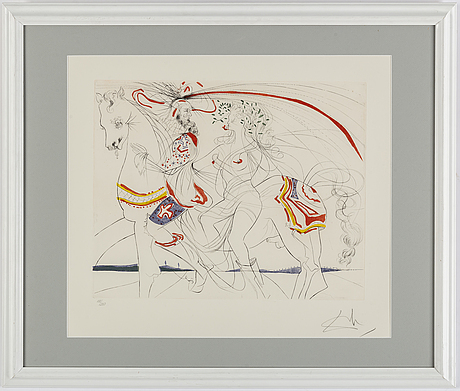 Salvador dalÍ, drypoint etching with coloured aquatint, signed and numbered 188/250.