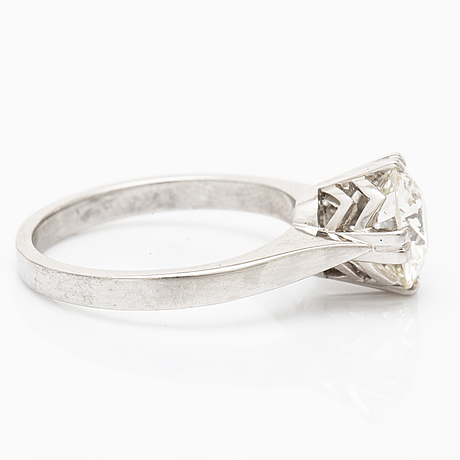 Diamond ring 18k whitegold, 1 old-cut diamond approx 1,5 ct, approx h-i vs, g dahlgren & co malmö 1968.