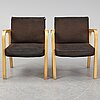 A pair of model 46 armchairs by alvar aalto, artek.