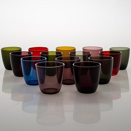 """Tapio wirkkala, a set of 14 drinking glasses """"4090"""". iittala, mid 20th-century."""