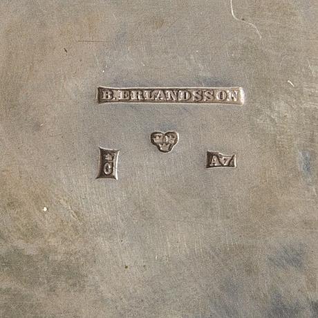 Kaffeservis, 3 delar, silver, b erlandsson, kristianstad, 1903, vikt ca 1200 gram.