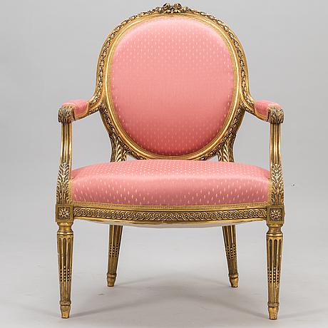 Nojatuoli, kustavilaistyylinen, 1900-luvun alku.
