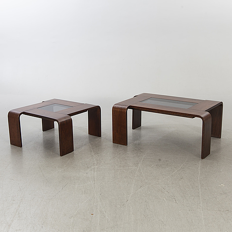 Possibly two percival lafer, brazilian 1970/80:s sofa tables.