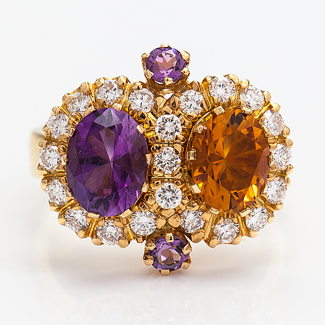 "An 18k gold ring ""sophia albertina"" with a cintrine, amethyst and diamonds ca 0.72 ct in total. ofelia jewelry, 1998."