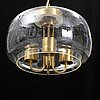A 1960/70s glass and brass ceiling lamp.