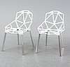 "Konstantin grcic, a pair of white aluminium ""chair one"", magis, italien, 21st century."