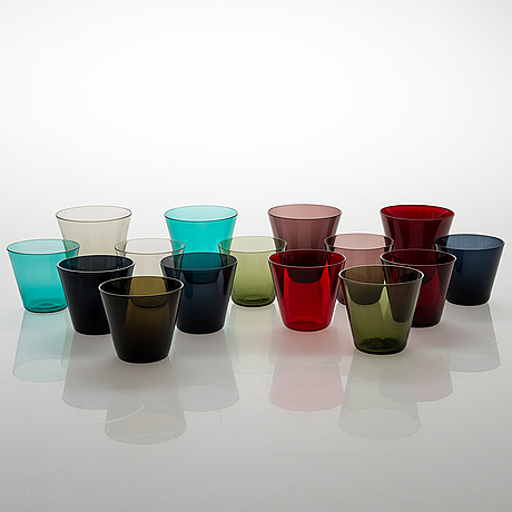"""Kaj franck, a set of 15 drinking glasses """"kartio"""", nuutajärvi mid 20th century."""