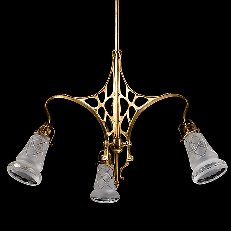 An art nouveau ceiling lamp, early 20th century.