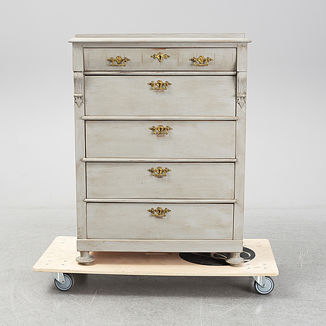 A late 19th century painted chest of drawers.