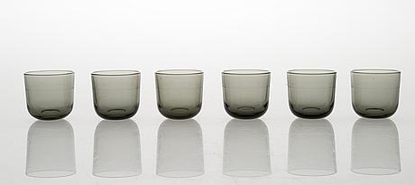 Kaj franck, a set of 12 snapsglasses. nuutajärvi.
