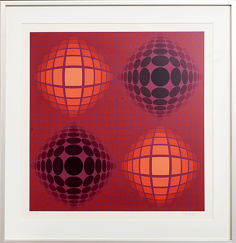 Victor vasarely, colourserigraph signed and numbered 155/250.