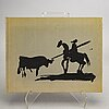 "Pablo picasso, bok, ""a los toros avec picasso"" med 4 litografier, utgiven av andré sauret, monte carlo 1961."