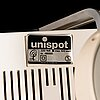Four white 1970's 'unispot' lamps by louis poulsen.