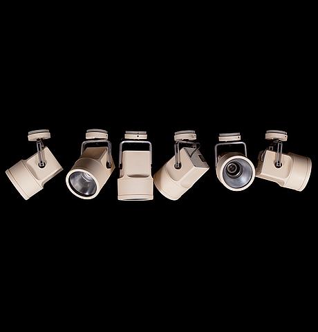 Six white 1970's 'unispot' lamps by louis poulsen.