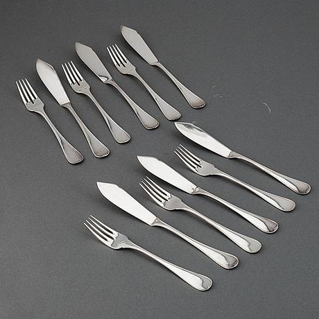 Fiskbestick, cg hallberg, silver, 12 delar.