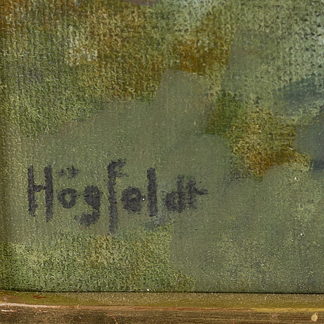 Robert hÖgfeldt, mixed media on canvas laid on panel, signed.