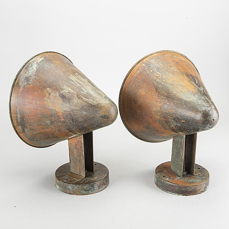 A pair of  mid 20th century outdoor wall lamps. possibly asea, sweden.
