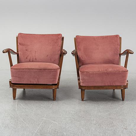 Svante skogh, fåtöljer, ett par. förenade möbelfabrikerna, linköping.