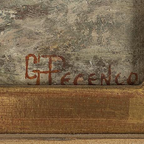 Giuseppe peceno, oil on canvas laid down on masonite, signed.