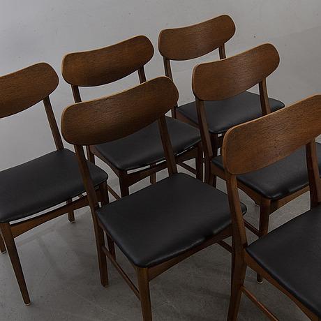 Stolar, 6 st teak, danmark, 1900-talets mitt.