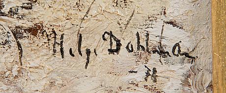 Helge dahlman, olja på pannå, signerad och daterad-78.