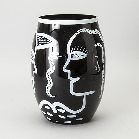 Ulrica hydman-vallien, a signed kosta boda glass vase.