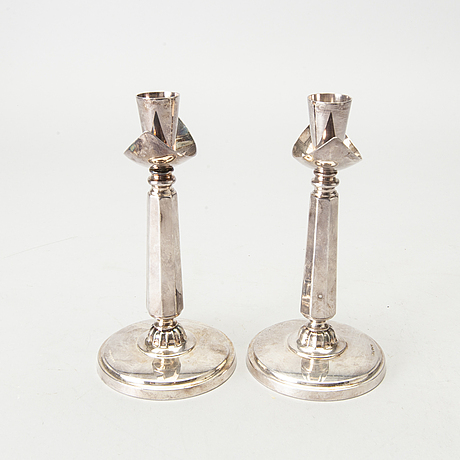 A swedish 20th century pair of silver candle sticks mark of gab stockholm 1969, height ca 17 cm.