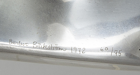 An barbro bäckström relief in aluminium. signed and dated 60/75 1972.