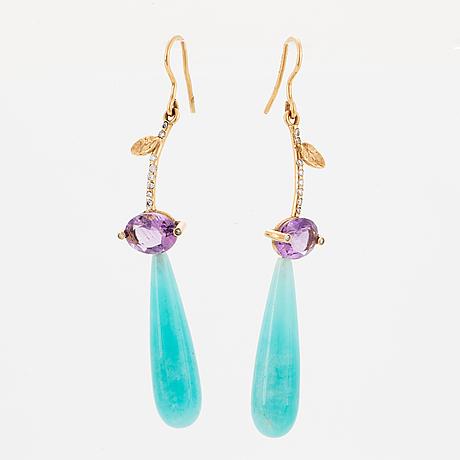 Drop shaped amazonite, amethyst and brilliant-cut diamond earrings.