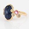 Cabochon-cut blue sapphire, yellow and pink sapphire, brilliant-cut diamond ring.