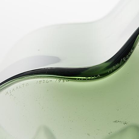 """Alvar aalto, maljakko, lasia, """"savoy"""" 3030, 50-vuotis juhlamaljakko, signeerattu a. aalto 1936-1986 iittala 1324/8000."""