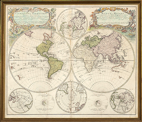 Map of the world, hand colored engraving, homann heirs, nürnberg 1746.