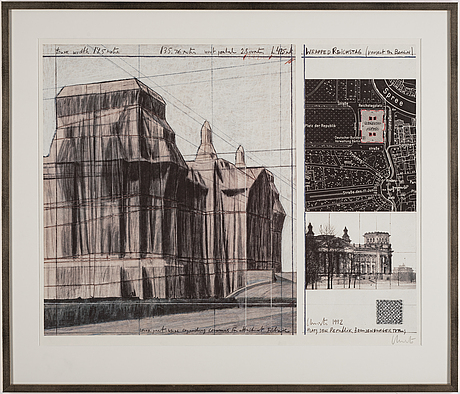 Christo & jeanne-claude, offset in colours with collage, 1992, signed christo in pencil.