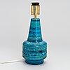 """Aldo londi, bordslampa, keramik, """"rimini blu"""", bitossi, italien, 1900-talets mitt."""