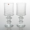 "Timo sarpaneva, a set of six footed glasses, ""festivo juhlalasi"", 2140, iittala. all signed ts. design year 1967."