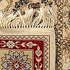 An old silk on cotton kayseri carpet ca 177 x 123 cm.