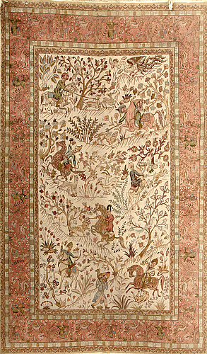 A semiantique tabriz carpet signed ca 290 x 198 cm.