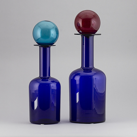 Two glass vases by otto brauer, holmegaard, denmark.