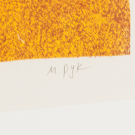 Madeleine pyk, lithograph in colours, signed m pyk and numbered 148/250 in pencil.