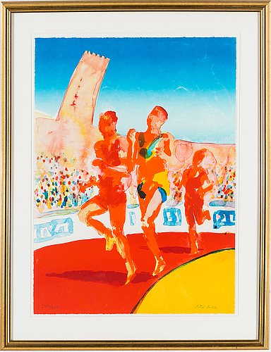 Peter dahl, lithograph in colours, signed peter dahl and numbered 247/296 in pencil.