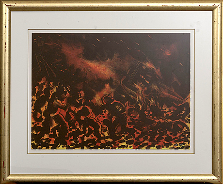 Peter dahl, a lithograph in color, pt, and signed.