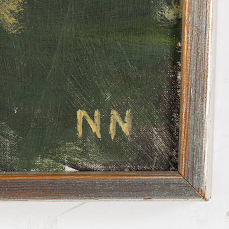 Nils nilsson, olja på duk, signerad nn.