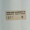 Hans agne jakobsson, vägglampor, ett par, v317, markaryd.