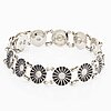 Georg jensen bracelet silver and black enamel, 'daisy.